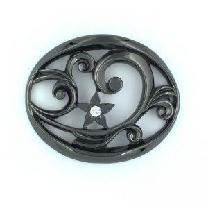 パンプス 前飾り 金属 パーツ 製作 メッキ 黒 スワロフスキー 銀座マティノス